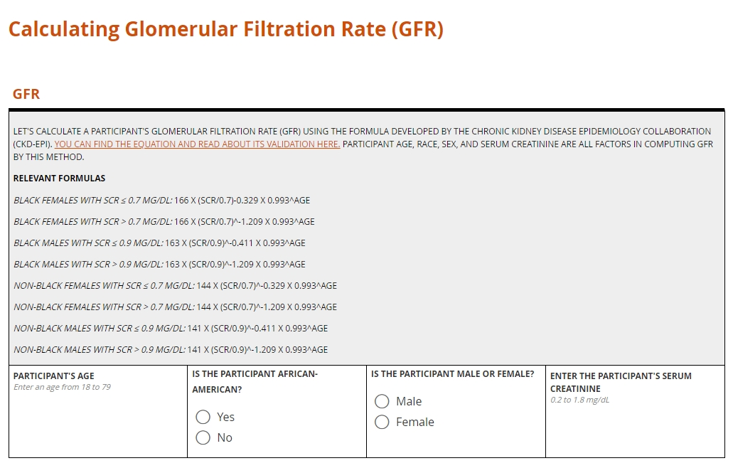 Calculating GFR on a electronic case report form