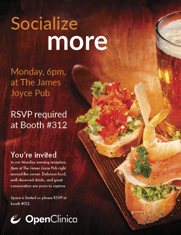 Socialize more - OpenClinica's reception on 9/30/19 at SCDM 2019