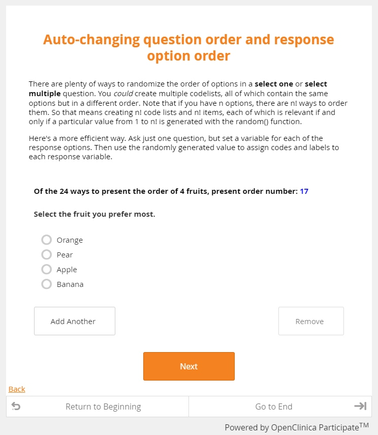 Page of web form showing a question and four possible responses